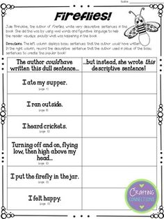 Using Fireflies to teach the importance of word choice in writing: A mentor text activity that focuses on revising sentences! - Crafting Connections with Deb Hanson 6 Traits Of Writing, Writing Mentor Texts, Mentor Sentences, Narrative Writing, Writing Words, Writing Lessons, Writing Ideas, Sentence Writing, Reading Lessons
