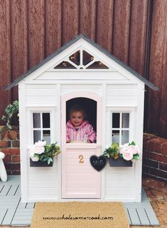 The kmart cubby house hack - how to transform your cubby with instructions and tips. Diy Playhouse, Playhouse Outdoor, Wooden Playhouse, Childs Playhouse, Kids Cubby Houses, Kids Cubbies, Play Houses, Backyard Playground, Backyard For Kids