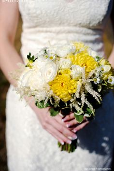 Yellow and White Bridal Bouquet with Greenery