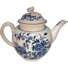 Crescent Marked Tea Pot From The Worcester Factory, Mark Indicates The Period Of Production