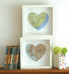 framed hearts ... cut a heart full of your favorite place from a map ...