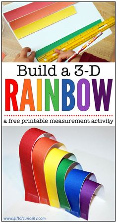 Build a 3D rainbow using this free printable measurement activity that supports measurement skills and color knowledge || Gift of Curiosity