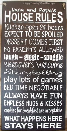 Nana and Papa's House Rules #Simply Country Wood DeSigns