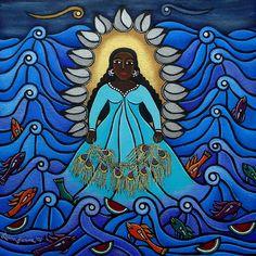 En la mitologia Yoruba, Yemaya es la diosa madre; patrona de las mujeres, en especial de las mujeres embarazadas; y del rio Ogun.