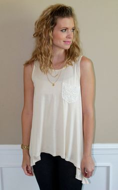 Magnolia Mill Road Trip Top, crochet, pocket, cream, tank, top, summer, beach, outfit, trendy, boutique, fashion, ootd, lotd, style, outfit, idea