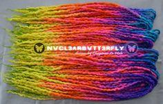Wool Silk  & Mohair Dreads  42DE #Neon #Rainbow by #NVCL3ARBVTT3RFLY #glowinghair #UVwool #blacklightreactive #mohair #silk #polwarth #wooldreads #neonrainbow #rainbowhair #burningman #PLUR #UV
