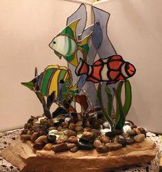Fish in a 3D mock-up coral landscape