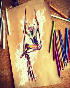 ArialSilks - circus inspiration Sketch -pencil colors and kraft -