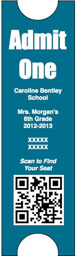 Tickets for the first day of school.  Students will scan the QR code and it will direct them to their Group and Seat.