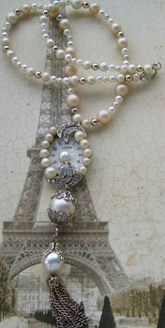 pretty mix of different size pearls in two colors