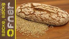 In diesem Backvideo zeige ich Euch die einfache und schnelle Zubereitung von Vollkornbrot. Als Getreidesorten werden Bio Roggen- und Dinkelvollkorn verwendet... Bread, Pane Pizza, Youtube, Food, Homemade Breads, Types Of Cereal, Rye, Brot, Essen