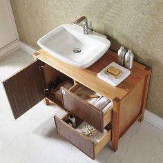 Monza 40-inch American Red Oak Single Vanity with White Vessel Sink