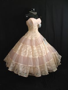 1950's STRAPLESS Emma Domb Pink Ivory Tulle Embroidered Lace Party Dress