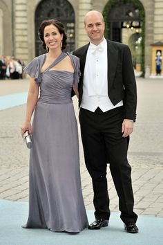 Swedish Prime Minister Fredrik Reinfeldt and wife Filippa Reinfeldt attend the Wedding of Crown Princess Victoria of Sweden and Daniel Westling on June 19, 2010 in Stockholm, Sweden.