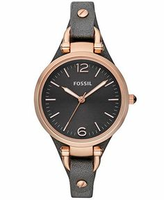 Fossil Watch, Women's Georgia Ash Gray Leather Strap 32mm ES3077 - Women's Watches - Jewelry & Watches - Macy's