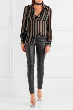 Saint Laurent   Leather skinny pants   NET-A-PORTER.COM