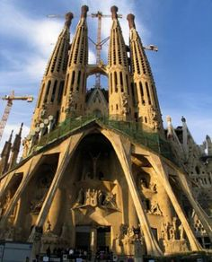 Anotonio Gaudi's unfinished cathedral, Barcelona.  La Familia Sacrada (Sacred Family) is the most remarkable building I have ever seen.