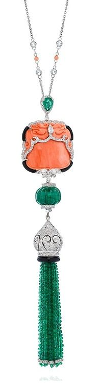 White gold, emerald, coral and diamond tassel necklace by Nigaam at Talisman Gallery, Harvey Nichols, London.