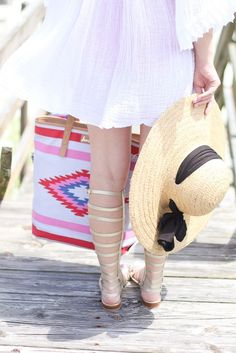 Beach coverup ideas, straw hat, summer outfit ideas.
