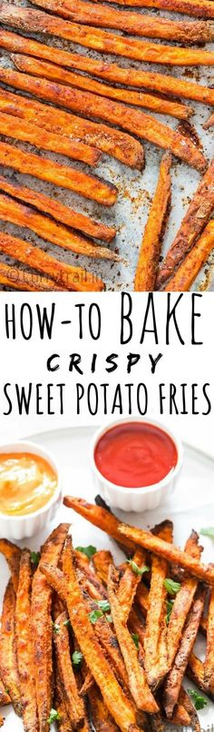 Crispy oven baked sw Crispy oven baked sweet potato fries are healthy alternative to your regular potato fries. Crispy crunchy outside delicious soft melt-in-your-mouth inside. These baked sweet potato fries are too good to resist! Best Side Dishes, Healthy Side Dishes, Vegetable Side Dishes, Side Dish Recipes, Vegetable Recipes, Vegetarian Recipes, Healthy Recipes, Easy Recipes, Healthy Fries