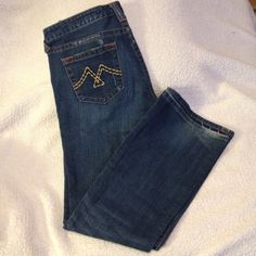 Vigoss Jeans 9/10 or 30 Distressed denim with patch detail, size 9/10 - 30, boot cut Vigoss Jeans Boot Cut