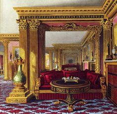 The Golden Drawing Room, Carlton House , London Palace Interior, Luxury Interior, Interior Design, Carlton House, Home Room Design, Interior Rendering, Regency Era, Vintage Interiors, Beautiful Buildings