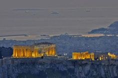Aerial photo Acropolis hill Parthenon Athens and @ the back Pireaus Aegan sea Athens City, Athens Greece, Acropolis Greece, Atlantis, The Places Youll Go, Places To Visit, Parthenon Athens, Greece Travel, Greece Vacation