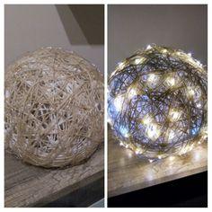 Lampe aus einem Luftballon, Paketschnur und eine Lichterkette.