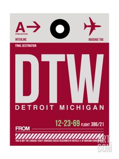 DTW Detroit Luggage Tag 1 Art Print by NaxArt at Art.com
