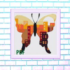Butterfly Modern Cross Stitch Pattern, orange- landscape, city, needlepoint-DIY, insect, nature, embroidery, Instant download PDF by ItsStitchy on Etsy Modern Cross Stitch Patterns, Needlepoint, Pdf, Butterfly, Embroidery, Orange, Landscape, City, Nature