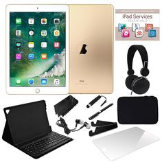 "2017 Apple iPad® 9.7"" Wi-Fi 128GB Tablet with Bluetooth Keyboard Case, Screen Protector, DJ-Style Headphones, Accessories and Services Voucher - Go..."