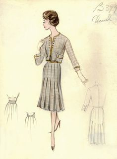 Chanel 1960 | Vintage CHANEL fashion sketches from the 1950s and 1960s