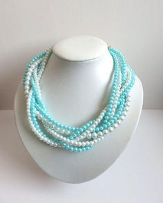 White Glass Pearl Baby Blue Tiffany Blue Glass by CreationDeBijoux, $27.00