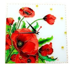 The Poppies Glass Clock FREE WORLDWIDE DELIVERY by GlasssMagic