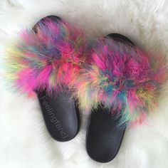 Feeling Fanci Faux Fur Slides Multi Color Fur Slides with Custom Faux Fur In Multi Color. No half sizes 5/6 7/8 9/10 Shoes Sandals