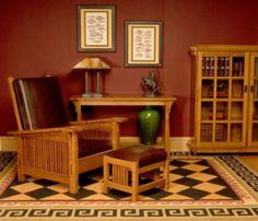 Mission Style Morris Chair - Rust Walls - Black, Gold, Khaki & Rust Floorcloth(?)