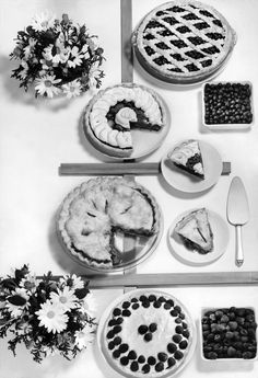 Four different kinds of pies photographed in the New York Times studio, 1958