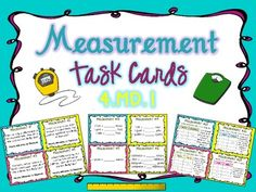 Measurement Task Cards Common Core 4.MD.1 { Differentiated }A set of 32 task cards to support CCS 4.MD.1 and perfect differentiation for CCS 5.MD.1 and review for other grade levels.   The first 16 cards require students to show their knowledge of relative sizes of measurements and basic conversion. The second 16 cards (17-32) have students using a two-sided chart to convert measurements for short story problems, as required by Common Core Standards. $
