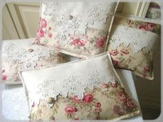 Floral fabric and Vintage Tablecloth/Table Runners into Cushions by LadyLimoges