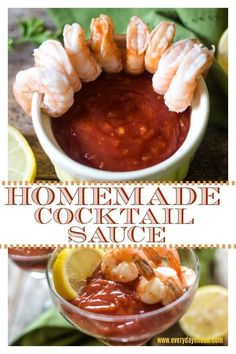 Homemade Cocktail Sauce is delicious and tastes so much better than any jarred store made sauce. Just a few ingredients and about 5 minutes to a mouthwatering cocktail sauce! Perfect for poached shrimp and seafood! Appetizers For A Crowd, Seafood Appetizers, Appetizer Recipes, Dinner Recipes, Cocktail Recipes, Breakfast Recipes, Dessert Recipes, Shrimp Recipes, Sauce Recipes
