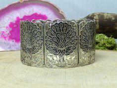 Vintage Sterling Silver & Niello Siam Bracelet; Peacock & Open Scroll Work!! #Unbranded #Cuff
