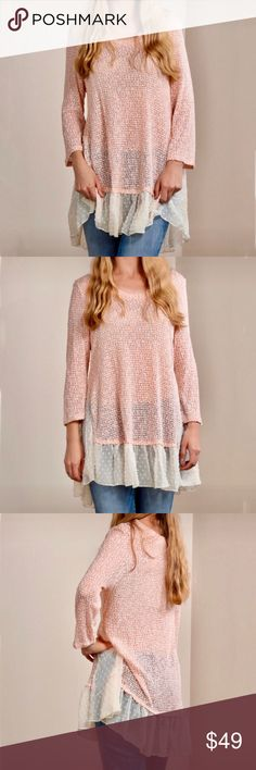 🆕JUST IN🆕 Blush Chiffon Hem Tunic 🆕JUST IN🆕 Blush Chiffon Hem Tunic Color ~ Blush Pink Fabric ~ 55% Polyester / 45% Rayon Hand wash cold, Made in the USA! This delicately FABULOUS top is a wardrobe essential!! It's guaranteed to make any outfit POP!!🍂🍂🍂 Benson Boutique Tops Tunics
