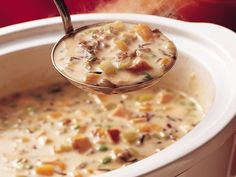 Slow Cooker North Woods Wild Rice Soup----and you can use the CANNED wild rice,(already cooked!) and it's a much simpler soup, YUM! Crock Pot Slow Cooker, Crock Pot Cooking, Slow Cooker Recipes, Crockpot Recipes, Soup Recipes, Cooking Recipes, Easy Recipes, Cooking Tips, Gastronomia
