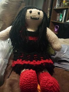 Crochet Doll Red And Black by JasmineBlack on Etsy, $20.00