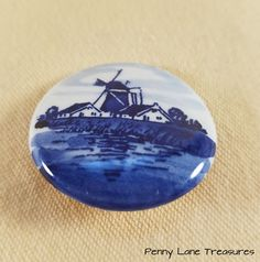 Delft Dutch Pin ~ Brooch ~ Pinback Button ~ Ceramic ~ Holland ~ Windmill Brooch ~ Porcelain ~ Hand Painted ~ Glass ~ Penny Lane Treasures by PennyLaneTreasures on Etsy