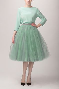 This might be the one - it's a mint grey mix (which I think means a grey underskirt and mint tulle top netting)