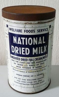 1940's 1950's Welfare Foods Service National Dried Milk Tin Babies Milk. I remember queuing up with my mum at the clinic to get this. MS