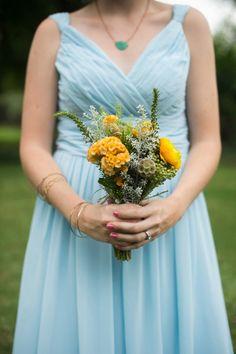 rustic yellow wedding bouquet by fleur