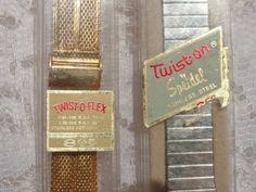 2 NOS Watch Bands Gold Mesh TWISTOFLEX & Silver TWIST-ON Spiedel LOT  #Spiedel
