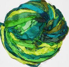 100g Recycled Sari Silk Ribbon Yarn multi 65 yards  by JuliaLCraft, $10.80